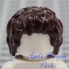 NEW Lego Minifig Short Dark BROWN HAIR - Hobbit Frodo Boy Wavy Curls Head Gear