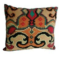 Needlepoint Pillow Tribal Boho Design Cross Stitch Kilim Style