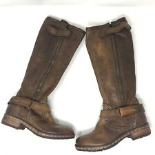 Anthropologie Area Forte Womens 6 EU 35 Distressed Brown Leather Moto Boots