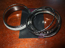 NWT Material Girl AB Stone Bangles set of 10 Silver, Stones, Glitter $16