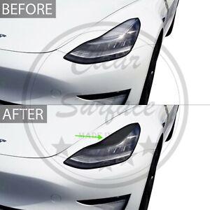 Fits Tesla Model 3 Head Light Eyelid Precut Smoke Vinyl Tint Cover Overlay