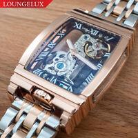 NEW Mens Classic Flywheel Stainless Steel Luxury Bling Skeleton Mechanical Watch