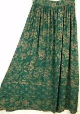 Sk76~Tienda Ho~GREEN~Double Hem~EMBROIDERED~Rayon~FLORAL~A-line Skirt~OS M L XL?