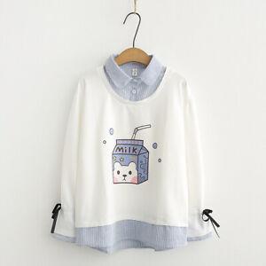 Kawaii Clothing Ropa Cute Milk Sweatshirts Bowknot Pullover Jumper Coats