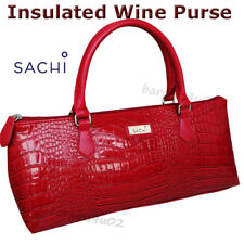 Sachi Wine Bottle Insulated Cooler Bag Tote Carrier Purse Handbag Crocodile Red