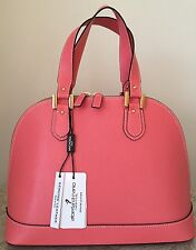 NWT Alberta DiCanio Italy Leather Salmon Pink Bugatti bag purse satchel Saffiano