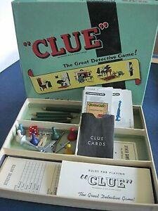 Vintage 1960's CLUE Detective Game Pieces in Original Box - Complete - No Board