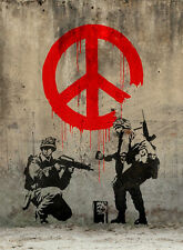 """BANKSY STREET ART *FRAMED* CANVAS PRINT Soldiers painting peace 18x12"""""""