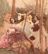 Music Park France Old Stereo Photo hand colored 1860'