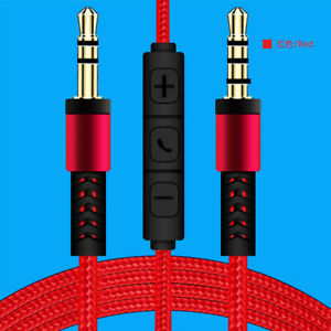 3.5mm Male to Male Aux Audio Extension Cable w/MIC For Phone Car Headset Speaker