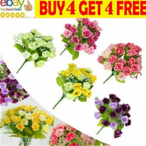21 Head Artificial Flowers Fake Silk Rose Bridal Wedding Bouquet Home Decor li