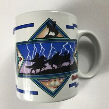 Oklahoma Coffee Mug VTG Cup Country Lightning Horses Cowboys State Drink Nature