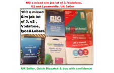100 x MIX  Sim Cards UK New Bulk Network Wholesale JOBLOT 02,Vodafone,Lyca & 3