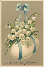 Muguet porte bonheur Paques oeuf fleurs fantaisie gauffre Easter emboss fantasy