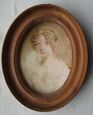 Regency ritratto in miniatura di una signora c1800 con cornice in legno per restauro
