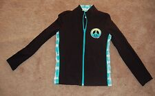 JUSTICE~Black Full Zip Peace  Printed Casual/Athletic Track Jacket~Size 12