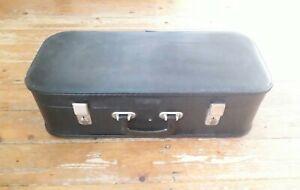 Vintage retro black leather effect trumpet case medium large storage box