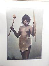 AUSTRALIE/Gravure 19°in folio couleur/Femme Australienne chargée d'armes du mari