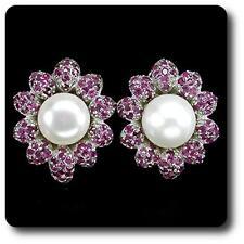 Ohrringe Rubin & perle 925