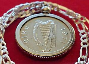 "Mint Original 1971 Ireland Harp Coin Pendant, 18"" Italian Sterling Chain. 25mm"