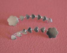 925 Sterling Silver Flower Heart Ear Cuff - No Piercing Earring Clip On Ear Pin