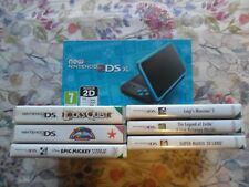 Boxed Nintendo 2DS XL Black/Turquoise Console with 6 Games VGC Mario Zelda Luigi