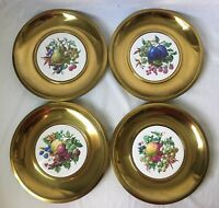 Set of 4 Brass Colored Fruit Plate Wall Hangings Vintage MCM 11.25""