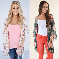 Womens Floral Loose Casual Kimono Cardigan Boho Chiffon Coat Jacket Blouse Tops