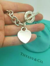 "Tiffany & Co. Toggle and Blank Heart Tag 7.75"" Silver Charm Bracelet, Hallmarked"