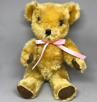 Gwentoys UK Teddy Bear Gold Mohair Plush 12in 30cm Jointed Label 1960s Vintage