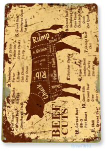 TIN SIGN Beef Cuts Metal Décor Wall Shop Farm Cow Kitchen Store A979