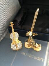 OLIVER WEBER GOLD PLATED GUITAR WITH STAND SWAROVSKI CRYSTALS MIB