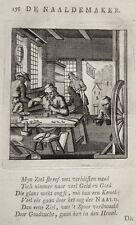 Nadler Nadelherstellung Nadel Schmied  Beruf alter Kupferstich Luyken 1717 2