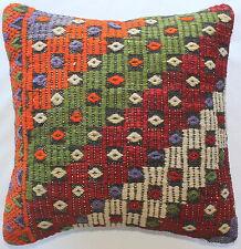 (40*40cm, 16inch) Boho hand woven kelim cushion cover red textured orange green