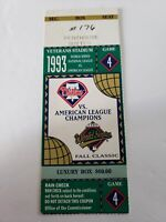 1993 Phillies Vs American League Champions (Blue Jays) Game 4 Ticket Stub