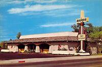 6x9 AMIGOS Family Restaurant circa late 1960 UNIQUE SIGN Glendale, CA postcard