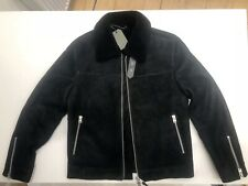 All Saints Shearling Leather Aviator Jacket Black Large Suede £798
