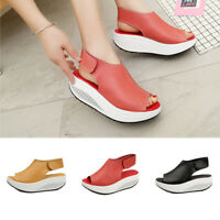 Women Summer Platform Wedge Heel Shoes Leather Ankle Strap Sandals Beach Casual