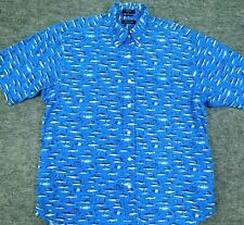 NAUTICA Shirt Sword Fish Print Button Down Short Sleeve Hawaiian Blue Men's L