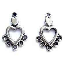 20 Antique Silver 18mm Heart Chandelier Earring Connectors Findings