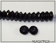 M642) Lot de 25 Perles  de verre imitation  Pierre NOIRE  Ø 9 mm
