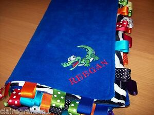 XL PERSONALISED COT/PRAM TAGGY BLANKET/GIFT IN BLUE