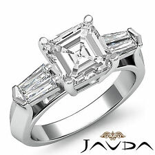 Asscher Cut Diamond Engagement Three 3 Stone Ring GIA H VS2 14k White Gold 1.5ct