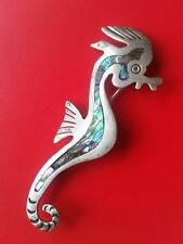 Vintage TAXCO 1940 SEAHORSE Pin STERLING SILVER & Inlay