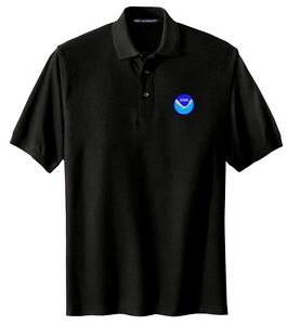 NOAA Logo Embroidered Black Polo Sport Shirt S-5XL