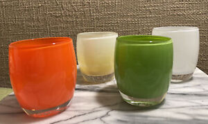 Lot Of FOUR (4) Glassybaby Votive Candle Holders Grass Tangerine Angel Grateful