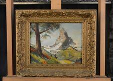 Small Old Impressionist Painting - Matterhorn Mtn Switzerland - J. Roberts (?)