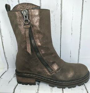 Henry Beguelin Metallic Dusted Leather Biker Combat Boot US 7 ITALY Minimal Wear