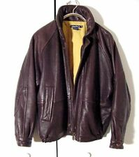 Vtg Brown Leather Nautica Bomber Jacket Sz 40 /L