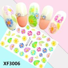 Nail Art Water Decals Stickers Transfers Flower Power Summer Floral Leaf XF3006